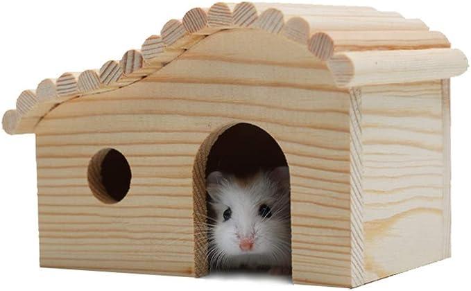 Casa del Hámster Pequeño anidamiento Animal Hábitat Hut Madera Hamster Casa Erizo ratón Enano de albergue Cabina Hamster Jaula Madera Inicio (Color : Picture Color, Size : 12x8x9cm)