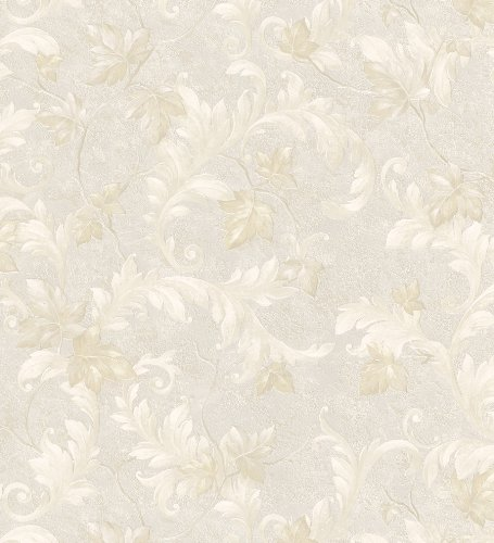 Mirage 981-41627 Scrolls and Damasks Florence Platinum Scroll  Wallpaper (Florence Scroll)
