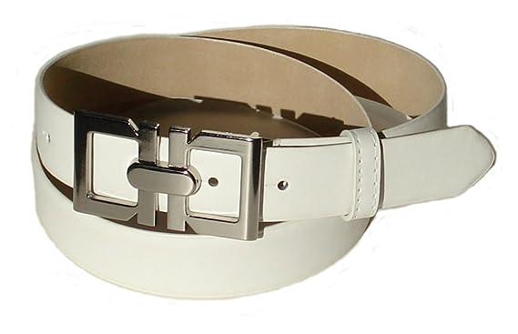 48ff515faf81 BeltsandStuds Women Fashion Designer White Dress Belt with Silver Buckle S  32 White