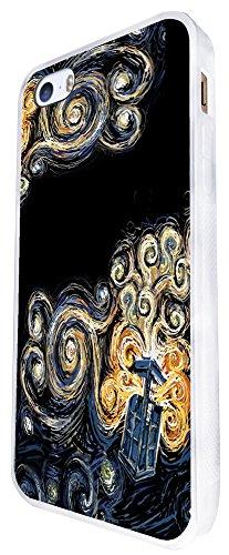 452 - Doctor Who Tardis Van Gogh Canvas Design iphone SE - 2016 Coque Fashion Trend Case Coque Protection Cover plastique et métal - Blanc
