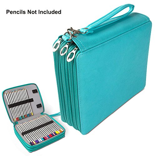 PU Leather Pencil Case, STARVAST 124 Slots Handy Pencil Bags with Metal Zipper Super Large Capacity Pen Bag for Prismacolor Premier Crayola colored pencils, Marco Pens(Green) (Holds Case 120 Pencil)