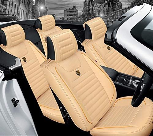 AYCYNI Easy To Clean Leather Car Seat Cushion 5 Seats Full Set - Non-Slip Suede Backing Universal Fit Seat Cover For Fabric,Black,Beige: Kitchen & Home