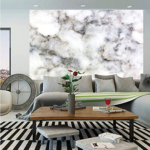 SoSung Marble Removable Wall Mural,Rock Pattern Limestone with Stain Traces Surface Artistic Authentic Design,Self-Adhesive Large Wallpaper for Home Decor 66x96 inches,Dust Grey White