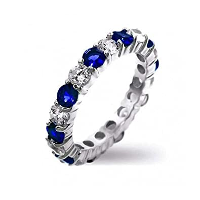 de5ab6a8fd721 Royal Blue White Alternating Two Tone Eternity Band Ring Simulated Sapphire  CZ Stackable 925 Silver