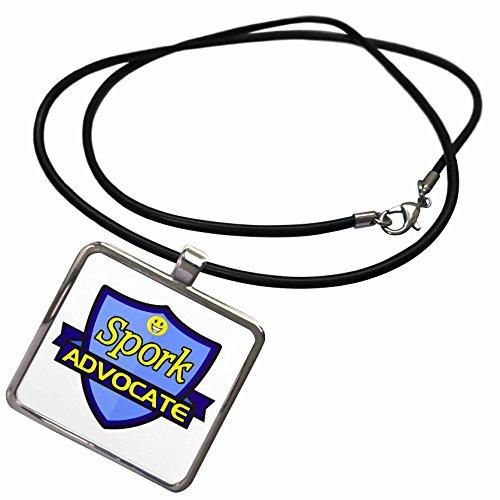 3dRose Dooni Designs - Funny Sarcastic Advocate Designs - Spork Advocate Support Design - Necklace with Rectangle Pendant -