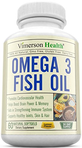 Omega 3 Fish Oil Supplement - Essential Fatty Acids 100% All Natural, Non-Gmo & Gluten Free. Pills for Brain, Memory, Focus, Cognition, Joints, Eyes & Skin. 60 Lemon Flavor Sofgels. Made in USA