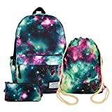 Artone Universe Galaxy Big Capacity Backpack Drawstring Bag Pencil Case Set Green