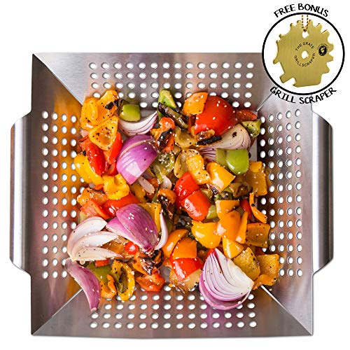 (Grill Basket Wok Topper Pan Smoker for Grilling Barbecue Vegetables Fish Stir Fry Seafood Kabob Pizza or Veggies 100% Heavy Duty Stainless Steel BBQ Camping Cookware Charcoal Gas Outdoor Accessories)