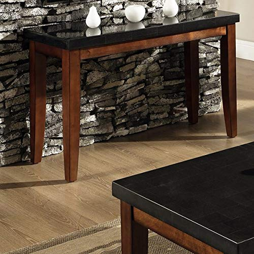 Wood Console Table with Granite Top - Rectangular Console Table - Brown/Black