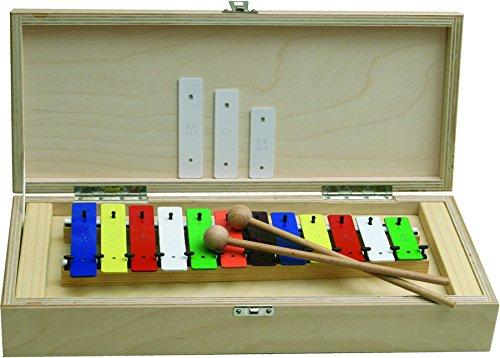 Goldon 11035 12 Plus 3 Coloured Sound Plates Metallophone in Wooden Box by Goldon