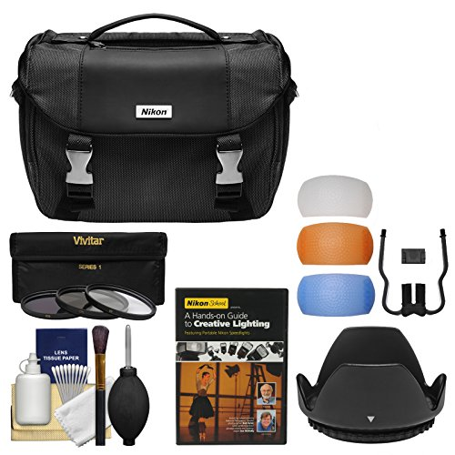 Nikon Deluxe DSLR Camera Case + Tele/Wide Lenses + 67mm UV/CPL/ND8 Filters & Hood + Lighting DVD Kit for D3300, D5300, D5500, D5600, D7200, D7500 & 18-140mm VR Lens