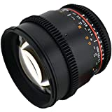 Rokinon CV85M-C 85mm t/1.5 Aspherical Lens for Canon with De-Clicked Aperture and Follow Focus Compatibility Fixed Lens