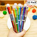 12 Pack Novelty Multicolor Ballpoint Pen, Magnolora Retractable Roller Ballpoint Pens Multifunction 6 In 1 Shuttle Pens, 6 Colors Highlighters Marker Pens Colorful Stationery Creative School Supplies