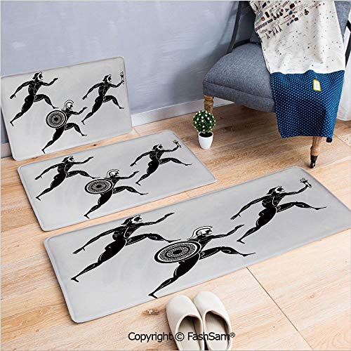 - FashSam 3 Piece Flannel Doormat Historical Ancient Spartan Runners Antique Body Heritage Illustration Decorative for Kitchen Rugs Carpet(W15.7xL23.6 by W19.6xL31.5 by W19.6xL59)