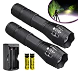 WishDeal 2 Pack T6 LED Flashlight Torch Adjustable Focus Zoomable Flashlight + 2 x 18650 Batteries + Charger