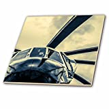 3dRose Alexis Photography - Transport Air - Stylized view of a helicopter nose, rotor blades and sky - 6 Inch Glass Tile (ct_267362_6)