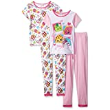Shopkins Girls' Big Girls' Keep Shopping 4-Piece Cotton Pajama Set, Pink, 10