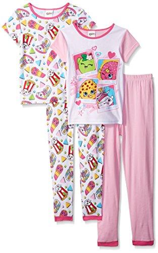 Shopkins Girls' Little Girls' Keep Shopping 4-Piece Cotton Pajama Set, Pink, 6 - Long Girls Pajamas