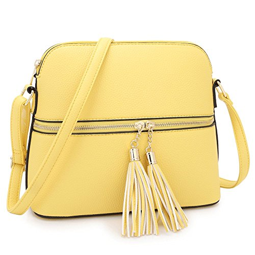 Women Lightweight Medium Dome Crossbody Bag with Tassel (Light Yellow)