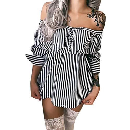 Women Striped Off Shoulder Blouses Sexy Bow Bandage Long Sleeve Loose Mini Dress High Waist Fashion ()