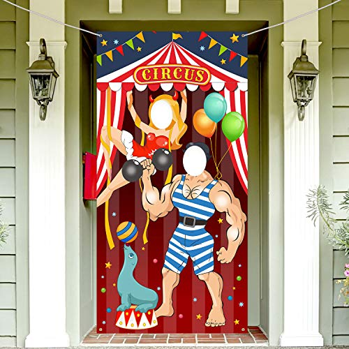 Carnival Circus Party Decoration Carnival Photo Door Banner Backdrop Props,Large Fabric Photo Door Banner for Carnival Circus Party Deco Carnival Game Supplies,6x3 ft