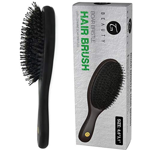 Hair Brush - Natural Boar Bristle Hair Brush for Men & Women with Added Nylon Pins and Ball Tips for Optimal Detangling & Scalp Stimulation - Large Paddle Hairbrush for Adding Shine | All Hair Types by Truly Genuine Beauty