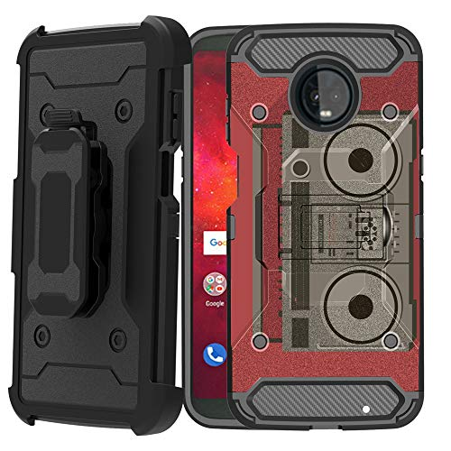 Untouchble Case for Motorola Moto Z3 / Motorola Moto Z3 Play (2018) Holster Case [Tank Series] Heavy Duty Cover Shell w/Kickstand Holster Belt Clip Combo - Boombox Retro