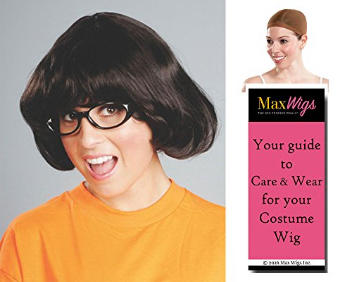 Target Lady Color Dark Brown - Enigma Wigs Womens Kristen Wiig Dinkley Bundle w/Cap, MaxWigs Costume Wig Care Guide