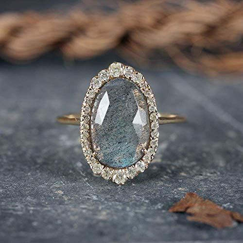Natural 2.55 Ct. Labradorite Gemstone Cocktail Ring Diamond Wedding Jewelry Solid 14k Yellow Gold Handmade Fine Jewelry Easter Gift