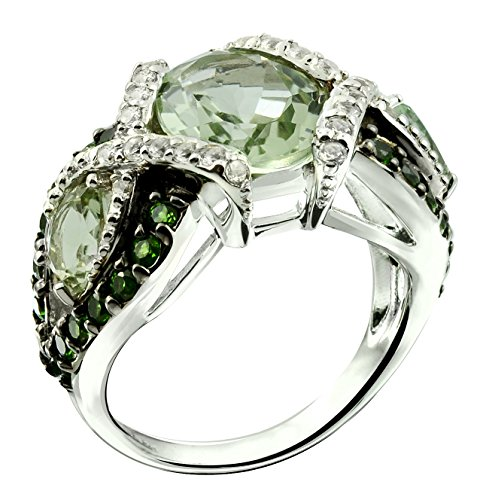 12x10mm Oval Ring Setting - RB Gems Sterling Silver 925 STATEMENT Ring GENUINE GEMSTONE Oval 12x10 mm with RHODIUM-PLATED Finish (6, prasiolite-quartz)
