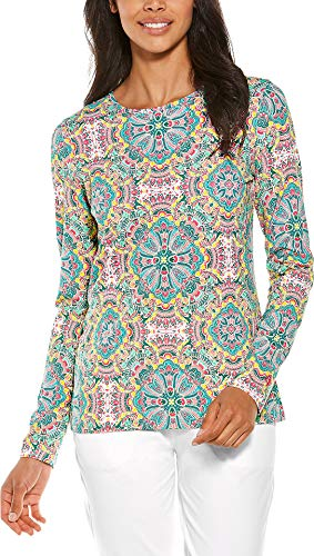 Coolibar UPF 50+ Women's Everyday Printed T-Shirt - Sun Protective (Medium- Green Multicolor Island Medallion)