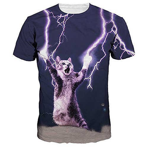 HGWXX7 Unisex Plus Size 3D Print Cool Short Sleeve Fun Tops Tee Blouse T Shirt (L, Purple) (Striped Black Purple Shirt)