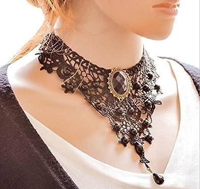 Nior Ouinne Collier Ras du Cou Gothique Lace Dentelle Fleur Perles Lolita Victorien Bijoux avec Pendentif Perles