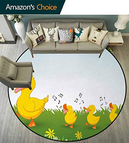 Cartoon Modern Machine Washable Round Bath Mat,Mother Duck And Babies Walking And Singing On The Meadow With Flowers Non-Slip Living Room Soft Floor Mat Round-71 Inch,Mustard And Light Blue