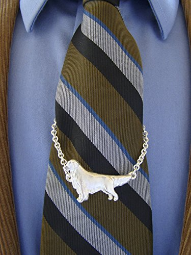 Sterling Silver Golden Retriever Large Standing Study Tie Chain by Bestk9buds