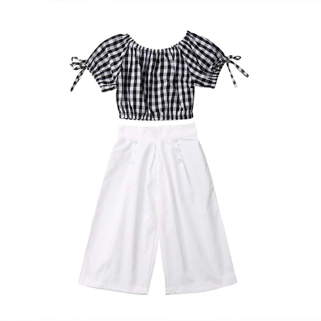 Pantaloni Larghi off-Shoulder Plaid Stampa Top Outfit SoonerQuicker Bambini T-Shirt