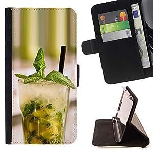 Momo Phone Case / Flip Funda de Cuero Case Cover - Macro Fruit Mojito Menta - Motorola Moto E ( 2nd Generation )