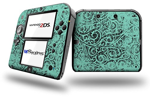 Folder Doodles Seafoam Green - Decal Style Vinyl Skin fits Nintendo 2DS - 2DS NOT INCLUDED