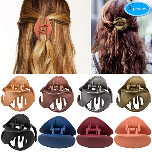 Hair Claw Clips 8 Colors, EAONE Stylish Jaw Clips Non Slip Hair Clip Clamps Styling Accessories Box Packaged for Women Girls, 8 Pieces ()