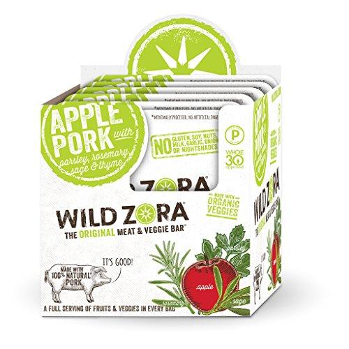 Wild Zora Apple All Natural Pork & Organic Veggie Bars (10 pack) - AIP-friendly, No Nightshades, Gluten-Free, No Antibiotics, No Added Hormones