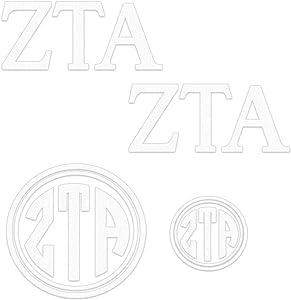 Zeta Tau Alpha Decal Kit for Laptop, Car, Yeti, Water Bottle (White)