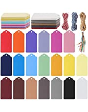240 Pcs Kraft Paper Tags, Kraft Paper Tags Hanging Tags Sign with String Price Tags for Christmas Presents, Wedding, Party and DIY Decoration (20 Colours)