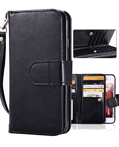 Galaxy S8 Plus Case, Galaxy S8 Plus Wallet Case, Crosspace PU Leather Wallet 2-in-1 Detachable Protective Magnetic Shell with 9 Card Holder and Wrist Lanyard for Samsung S8 Plus