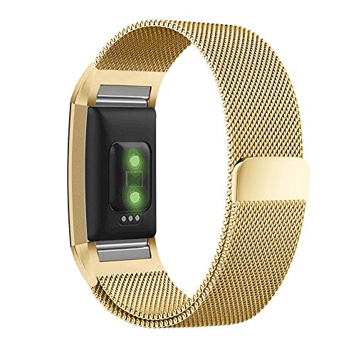 UMTELE for Fitbit Charge 2 Band, Milanese Loop Stainless Steel Metal Bracelet Strap with Unique Magnet Lock, No Buckle Needed for Fitbit Charge 2 HR Fitness Tracker Gold Small