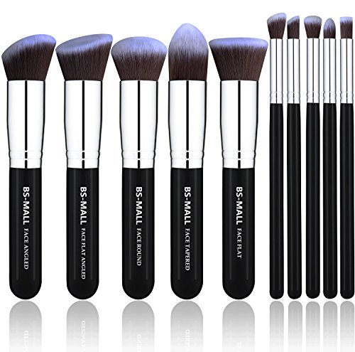 BS-MALL(TM) Makeup Brushes Premium Makeup Brush Set Synthetic Kabuki Makeup Brush Set Cosmetics Foundation Blending Blush Eyeliner Face Powder Lip Brush Makeup Brush Kit(10pcs, Silver Black) 51Evmj5HokL