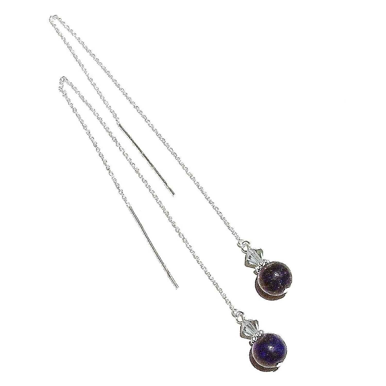 Lapis Lazuli & Swarovski Crystal Sterling Silver Pull Through Earrings 170mm