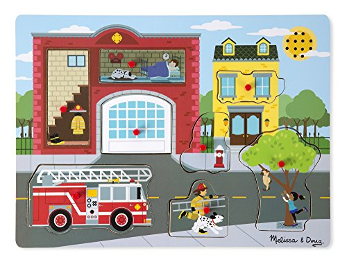 Melissa & Doug Around the Fire Station Sound Puzzle - Wooden Peg Puzzle (8 pcs)