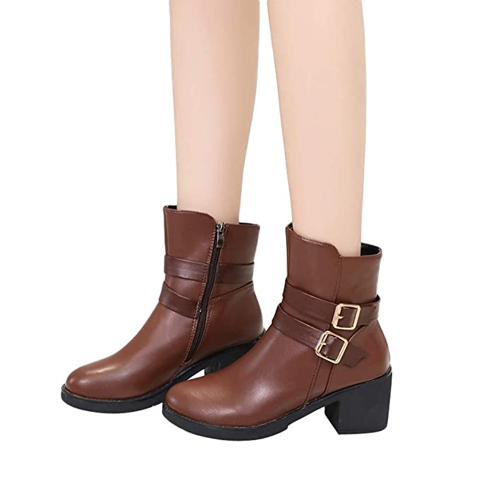 Botas Mujeres Cuñas, otoño Invierno Mediados de Tubo Zapatos Hebilla Correa Cuero Medio