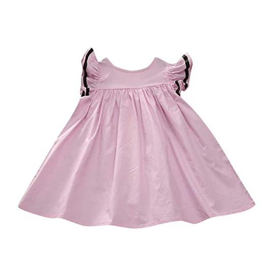 d34fdcac0503 Amazon.com: SMALLE Clearance Newborn Toddler Baby Girls Solid Princess  Zipper Casual Elastic Stretchy Tulle Dress Clothes: Clothing