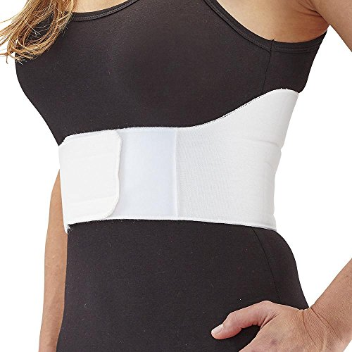 Ames Walker AW Rib Belt for Women White Medium - Support for injured ribs or strained muscles - Helps make breathing and movement more comfortable - Convenient hook and loop front closure